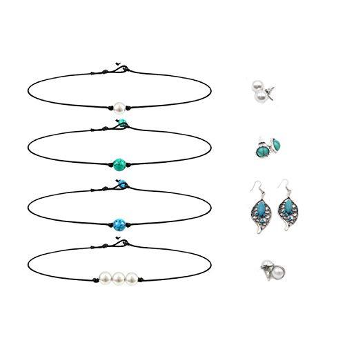 (Kalolary Single Pearl Choker Necklace, Pearl Bead Necklace Stud Earrings Jewelry Set, Handmade Choker Necklace Handmade Jewelry for Girls Women)