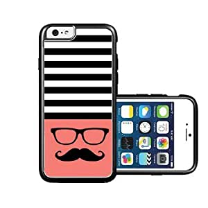 RCGrafix Brand Hipster-Mustache Black Stripes & Coral black iPhone 6 Case - Fits NEW Apple iPhone 6