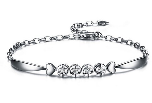 Gowe Angel's Kiss 0,1ct sertie de diamants SI/I-j Or blanc 18K Chaîne Bracelet Bijoux Bracelets Braclets Bracelet