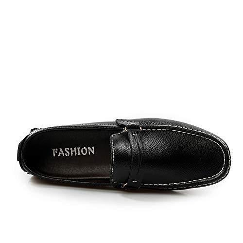 Confortables Cuero Moccasin tamaño Zapatos Para Liviano Negocios 28 Negro Diseño Mocasín Pisos Zgsjbmh 0cm gommino Y De gommino Bajos Genuinos Negro 24 blanco Hombre Suave Único 5cm xapSAw