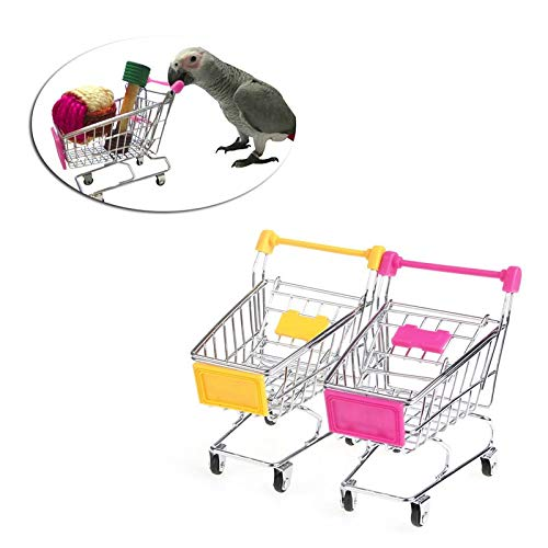 Bird Toys - Parrot Bird Mini Supermarket Shopping Cart Intelligence Growth Training Kids Toy - Clips Bundle Basketball Stairs That Popsicle Spoons Talking Hang African Metal Chew Swing Cle by Unknown