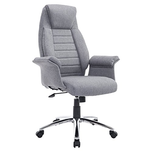 HomCom High Back Fabric Executive Leisure Home Office Chair with Arms – Light Grey
