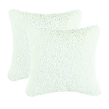 CaliTime Super Soft Throw Pillows Cases Covers Plush Faux Fur 18 X 18 Inches, Ivory, Pack of 2