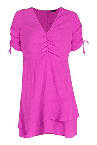 YourPrimeOutlet Damen Ana Ruched Bust Drawcord Sleeve Tea Dress Elektrische Fushia I5aGkyflC
