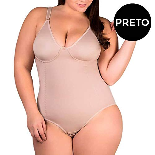 Body Plus Size Modelador Redutor De Medidas Sem Bojo Bege Ou Preto - Pl195