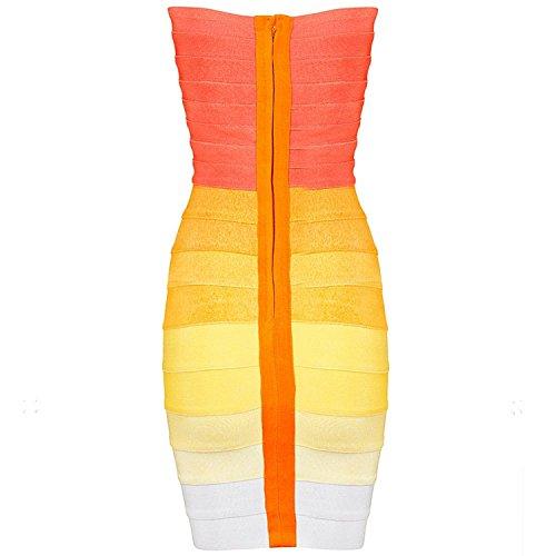 Schiena Scoperta Whoinshop Donna Senza Cocktail Ombre Bodycon abito Benda Spalline Arancione Da tqtwECF