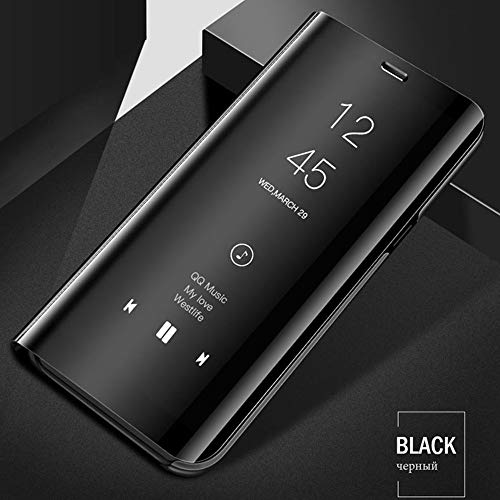 Yoedge Case for Xiaomi Mi 9, Slim Luxury Mirror S-View Window Flip Back Cover PU Leather PC Full Body Protection Shockproof Case with Kickstand for Xiaomi Mi 9, Black