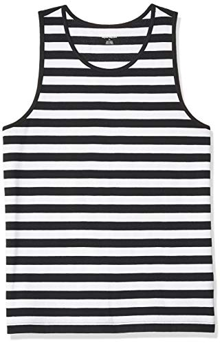 Amazon Essentials Men's Slim-Fit Ringer Tank Top, Black/White Stripe, Large ()