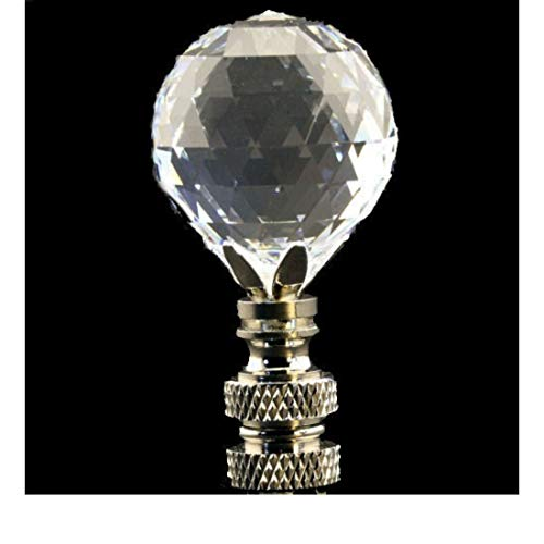 (Cut Crystal Faceted Ball LAMP Shade Finial ON Swivel Nickel Base)
