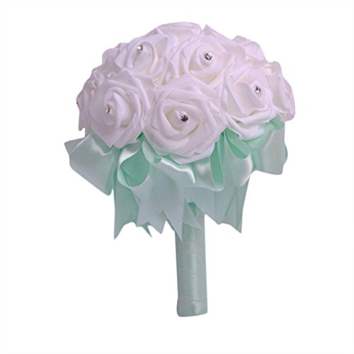 Wedding Bouquet,Han Shi Vintage Artificial Silk Flowers Party Crystal Roses Bridal Floral (S, Green)
