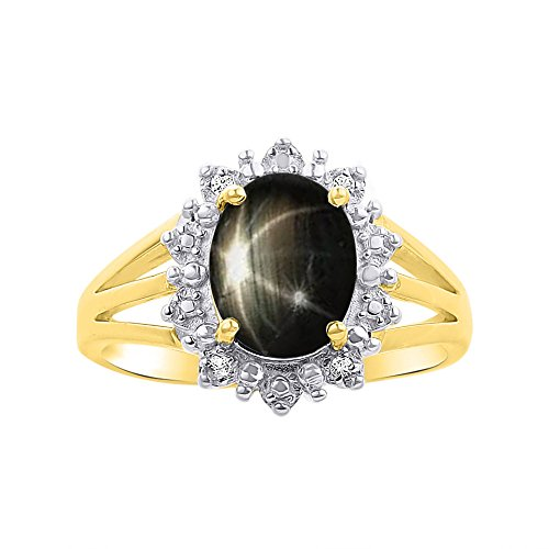 Diamond & Black Star Sapphire Ring Set In 14K Yellow Gold - Princess Diana Inspired Halo Desginer