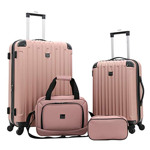 4 Piece Lightweight Luggage Set - Travelers Club Luggage 4 Piece Luggage Set, Rose Gold, 4 PC