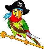 Stickersnews - Stickers muraux enfant Perroquet pirate hauteur 30cm réf 3614