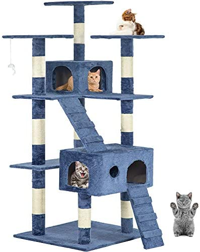 New Navy Blue 73 Cat Tree Scratcher Play House Condo Furniture Post Pet House Pet Supplies