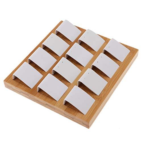 SM SunniMix Velvet Bamboo Earring Jewelry Display Tray Case Box Holder Storage Box - White