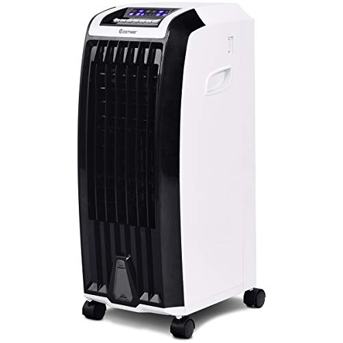 (COSTWAY Evaporative Air Cooler with Fan & Humidifier Anion Portable Bladeless Quiet Electric Fan with Remote Control and Ice Crystal Box(28