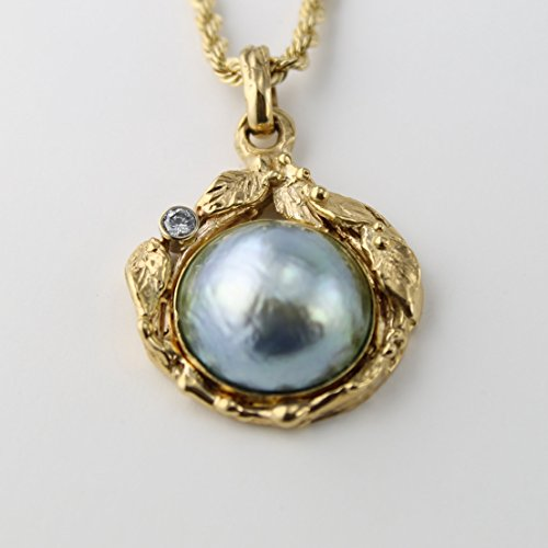 (South Sea Silver/Blue Mabe Pearl Gold Pendant with Diamond)