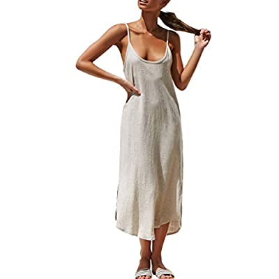 PASATO 2019 Sale!Womens Deep V Sling Boho Solid Lady Beach Loose Summer Sundress Maxi Dress