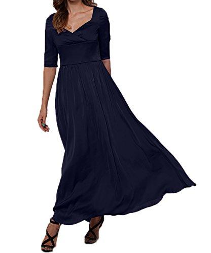 Damen Partykleider Elegant A Langarm linie Blau Navy Charmant Brautmutterkleider Abschlussballkleider Abendkleider n1qaUUcB