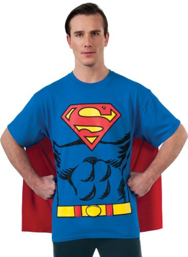 [DC Comics Superman Costume T-Shirt With Cape, Blue, Large] (Hero Costumes For Men)