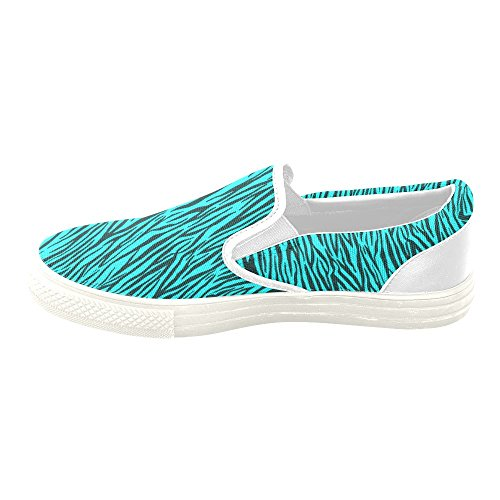 D-Story Custom Turquoise Zebra Stripes Womens Unusual Slip on Canvas Shoes (Model 019) 3a9r6