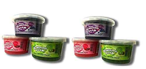Bursting Popping Boba 3 Flavor Fun Pack -Blueberry, Kiwi, Pomegranate (6 pack - 2 of each flavor) by Bossen Store