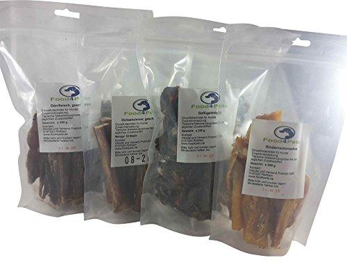 Kausnacks für Hunde Mix 2 - Ochsenziemer,Geflügelmägen,Rindernackensehne und Dörrfleisch Mix - im praktischen wiederverschließbaren Beutel