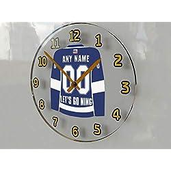 Hockey Wall Clocks - 12 X 12 X 2 N H L Jersey Themed Clock - Atlantic Division - Let's GO Editions !! (Let's Go Lightning Edition)