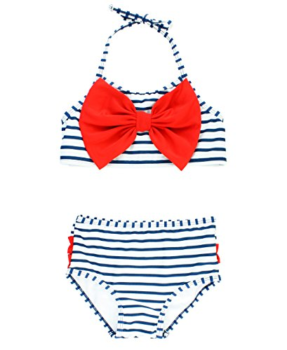 RuffleButts Girls Navy Stripe Bow Halter Bikini Swimsuit - 10