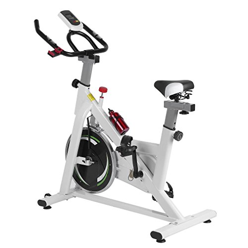 Exercise Bike Indoor Cycling Stationary Bike with LCD Monitor, Fitness Spinning Bicycle Trainer Cardio Aerobic Equipment for Workout Home Gym CalmTime