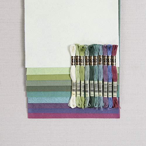 Felt Wool Floss - Wool Blend Felt Sheets, Succulents Colors (10 9x12 inch Sheets with Coordinating Floss)