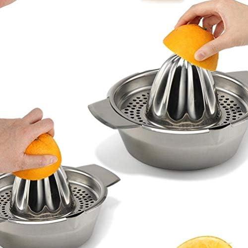 Hemoton - Exprimidor manual de limón, exprimidor de limón y cítricos, exprimidor manual de frutas de acero inoxidable con recipiente de medición