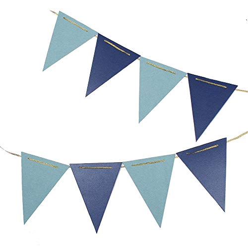 - ZOOYOO 10 Feet Glitter Pennant Banner, Paper Triangle Flags Bunting for Baby Birthday Party, Wedding Decor, Baby Shower, 15pcs Flags, Pack of 2 (Blue/Light Blue)