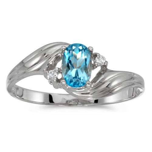 10k White Gold Oval Blue Topaz And Diamond Ring (Size 7) by Direct-Jewelry