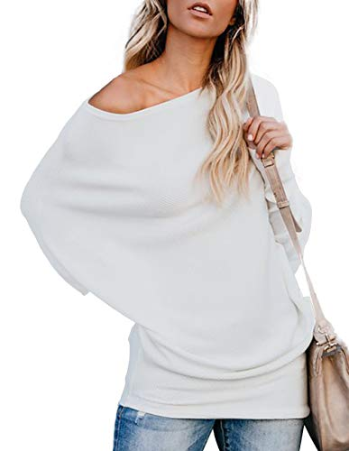 Sweater Strapless (Women Off Shoulder Sweater Batwing Long Sleeve Pullover Sweater Knit Jumper Tops Loose Fit Shirt White)