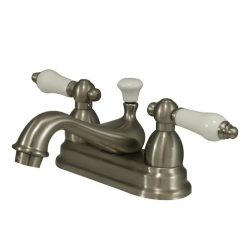 Lever Porcelain Brass Handle - Kingston Brass KS3608PL Restoration 4-Inch Centerset Lavatory Faucet with Porcelain Lever Handle, Brushed Nickel