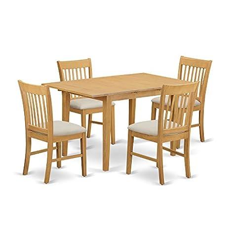 East West Furniture NOFK5-OAK-C 5-Piece Dinette Table Set, Oak Finish - Extendable Dining Table Set