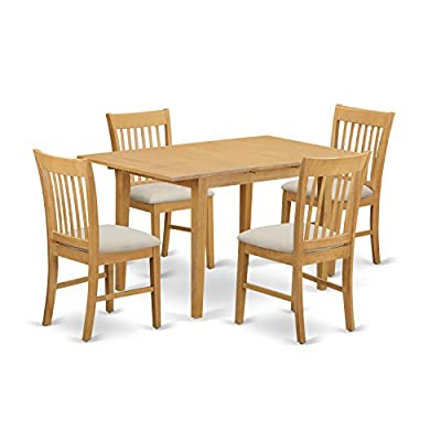 East West Furniture NOFK5-OAK-C 5-Piece Dinette Table Set, Oak Finish - Norfolk 5 piece set includes one rectangular dinette table with 12in extension leaf and 4 matching dinette kitchen chairs High standard dining chairs that designed with 100-Percent Asian hardwood no MDF, veneer, laminate employed in our products - kitchen-dining-room-furniture, kitchen-dining-room, dining-sets - 41Y0GDh4g6L. SS400  -