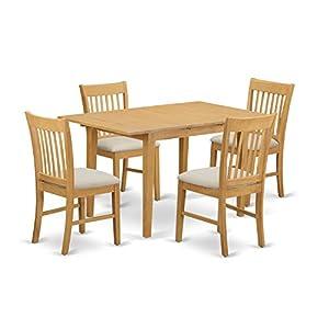 East West Furniture NOFK5 OAK C 5 Piece Dinette Table Set, Oak Finish