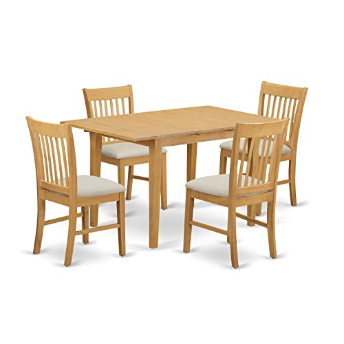 East West Furniture NOFK5-OAK-C 5-Piece Dinette Table Set, Oak - Oak Rectangular Table Dining Set