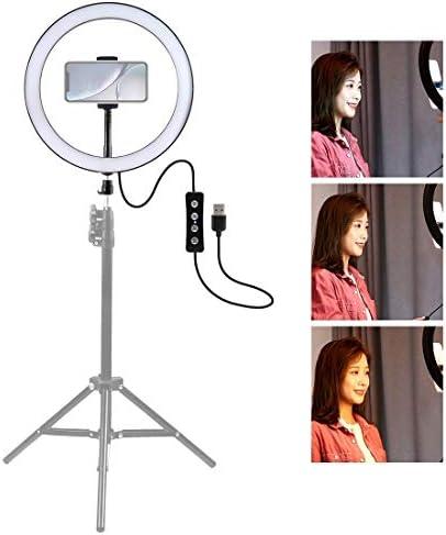 ライブ自撮り コールドシュー三脚ボールヘッド&電話クランプ(黒)と12インチ30センチメートルUSB 3モード調光対応LEDリングVlogging自分撮り写真ビデオライト