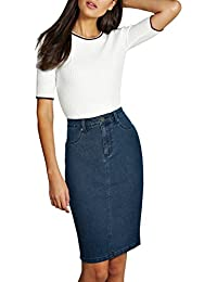 Womens Super Comfy Perfect Fit Stretch Denim Skirt