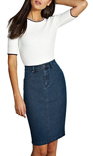 (Lexi Womens Pull on Stretch Denim Skirt SKS22884 Medium Blue 8 )