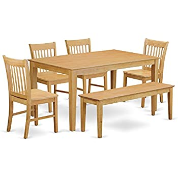 East West Furniture CANO6-OAK-W 6-Pc Dining Room Set with Bench- Dining Table and 4 Chairs and Bench