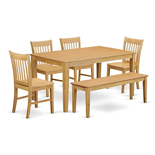 East West Furniture CANO6-OAK-W 6-Pc Dining Room Set with Bench- Dining Table and 4 Chairs and - Dining Rectangular Oak Set Table