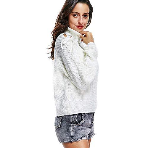 Blanc Medium O coloré Blanc Pardessus Longues Pull Outwear Tricoter Hiver Taille Rayé Top Mode Capuche Femmes cou Manches Pulls Set À Automne Sweat AB6OxwqH4
