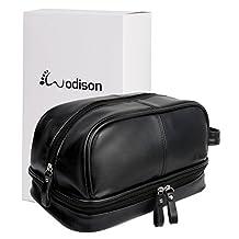 WODISON Vintage Mens PU Leather Shaving Dopp Kits Bag Travel Toiletry Organizer with Gift Box Black