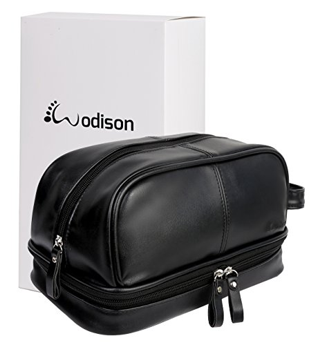 WODISON Vintage Mens PU Leather Shaving Dopp Kits Bag Travel Toiletry Organizer with Gift Box Black