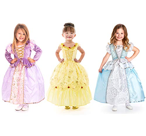 Cinderella Maid Costume (Little Adventures Cinderella, Yellow Beauty, & Rapunzel Princess Dress Up Costume Bundle Set (Small (Age)