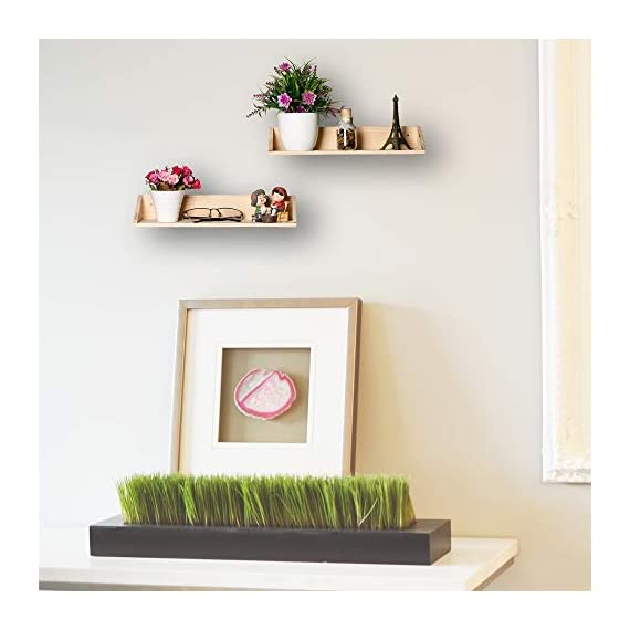 [Set of 2] Floating Shelves Wall Mounted 2 Display Ledge Shelf with Bracket for Pictures + Audio + DVD + Frames Modern Home Decorative Collectibles, and Much More - ✔️HIGH-QUALITY MATERIAL: the Floating shelves Made of high-grade melamine faced panels, with the wear resistance and durable, excellent stain resistance, good breath-ability, anti-stripping, Eco-friendly spray painted finish which makes it easy to clean ✔️HOME DECORATIVE: Great for home, office & dorm, Decorative and functional. This Floating shelf can be used to hang photos or plants in the living room, hold beauty products in the bathroom. ✔️SPACE-SAVING: This wall mounted floating shelf is suitable for holding books, phones, wallet, keys, and any other small items, which is perfect for saving your room space - wall-shelves, living-room-furniture, living-room - 41Y0ICojyGL. SS570  -